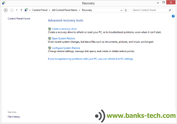 How To Create A Windows 8.1 Recovery Drive - Advanced Recovery Tools