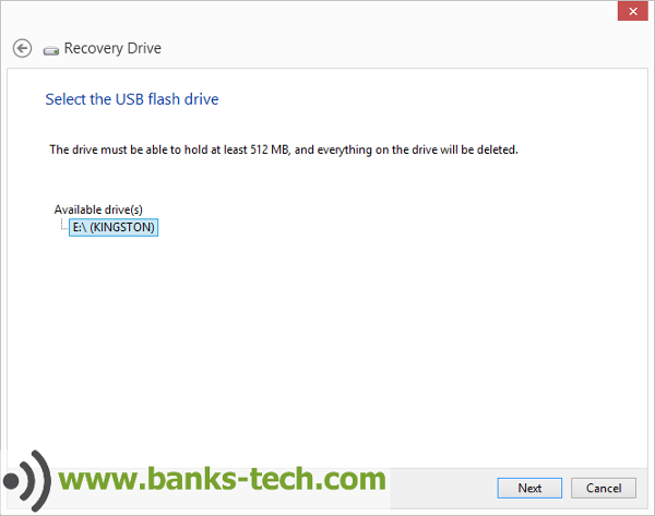 How To Create A Windows 8.1 Recovery Drive - Select The USB Flash Drive