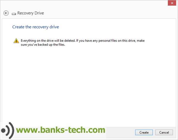 How To Create A Windows 8.1 Recovery Drive - Create The Recovery Drive