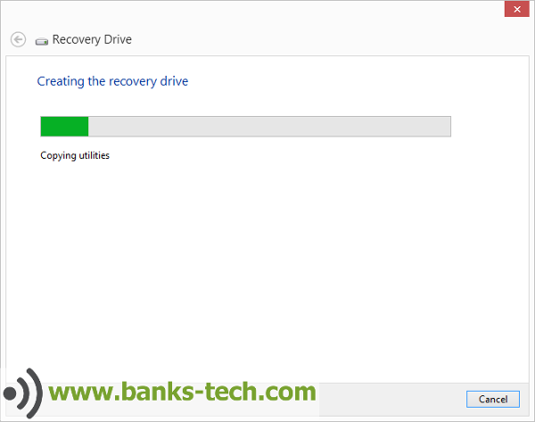 How To Create A Windows 8.1 Recovery Drive - Creating The Recovery Drive