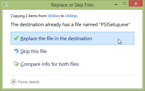 Restore Files With Windows 8 File History - File History -> Replace or Skip Files