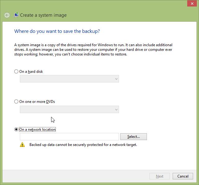 Create A System Image - Windows 8.1 - Create A System Image