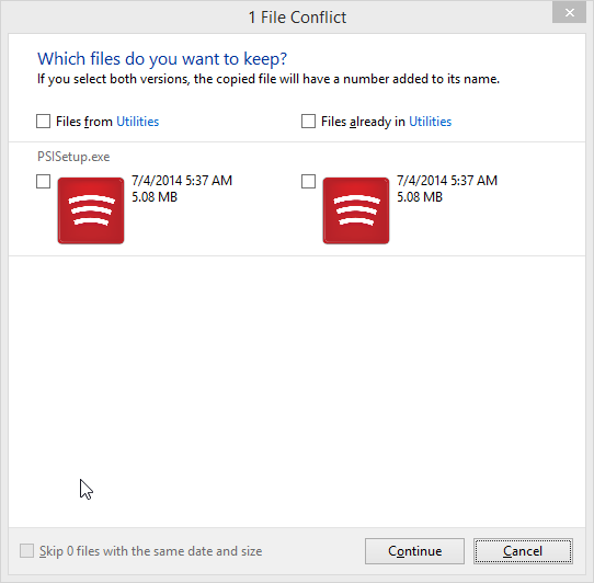 Restore Files With Windows 8 File History - File History -> File Conflict
