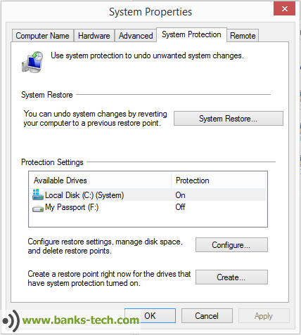 Windows 8.1 - Recovery Options - Create A Restore Point