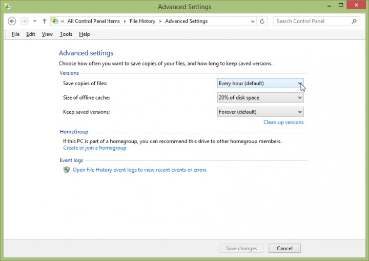 Screenshot - Windows 8.1 - File History -> Advanced Settings