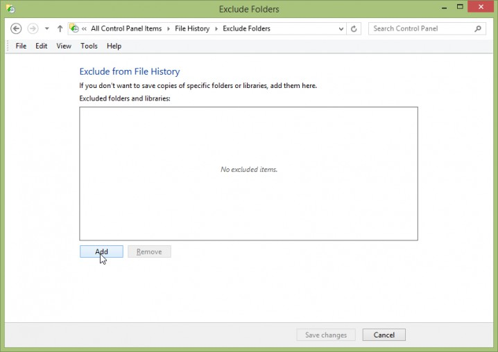 Screenshot - Windows 8.1 - File History -> Exclude Folders