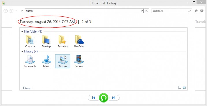 Restore Files With Windows 8 File History - File History -> Restore Files