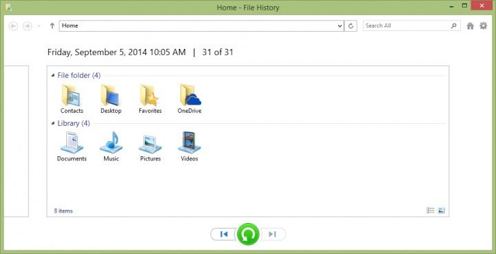 Restore Files With Windows 8 File History - File History -> Restore Files
