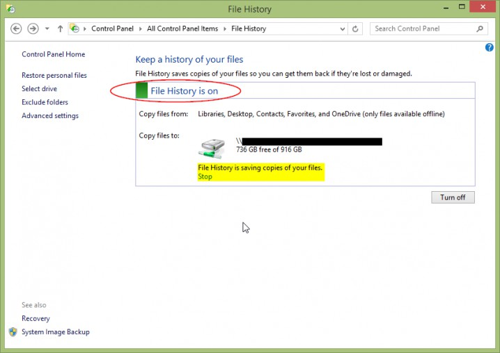 Screenshot - Windows 8.1 - File History
