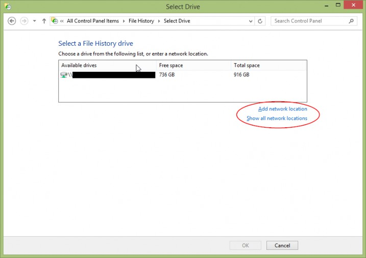 Screenshot - Windows 8.1 - File History -> Select Drive